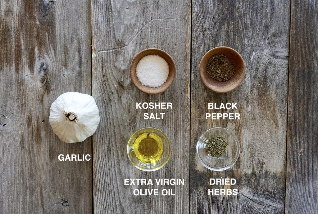 Ingredients for roasted garlic bulb