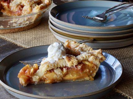 A slice of Classic Peach Pie