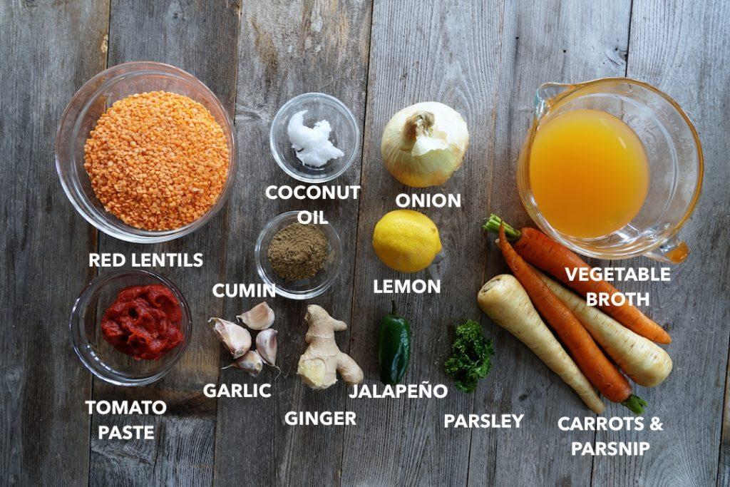 Ingredients for Red Lentil Side Dish