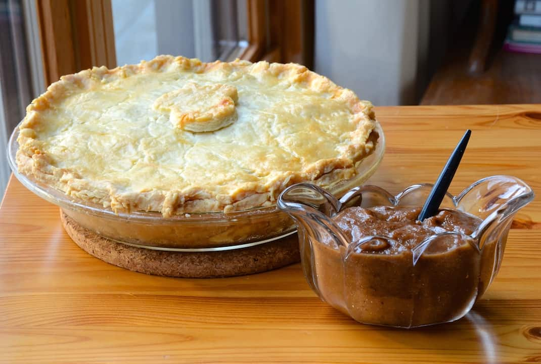 Traditional Meat Pie served with Rhubarb Relish