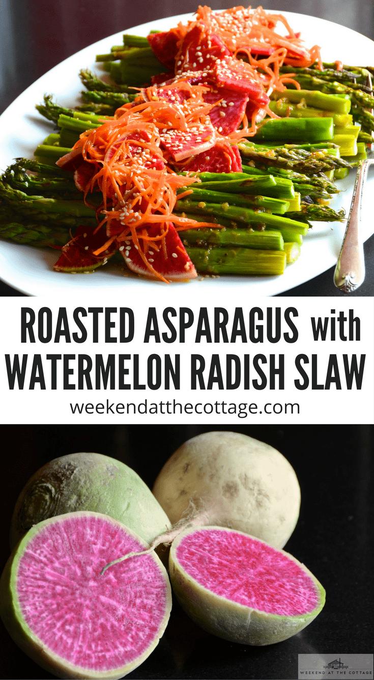 Roasted Asparagus With Watermelon Radish