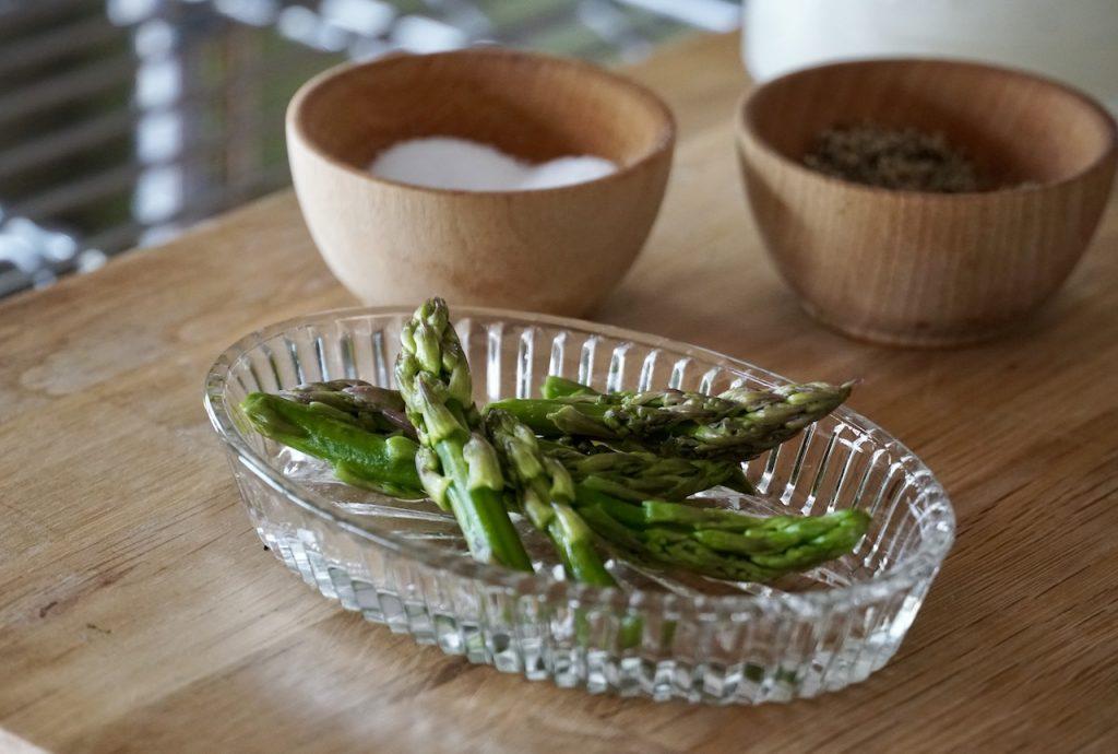 Asparagus tips reserved for garnish