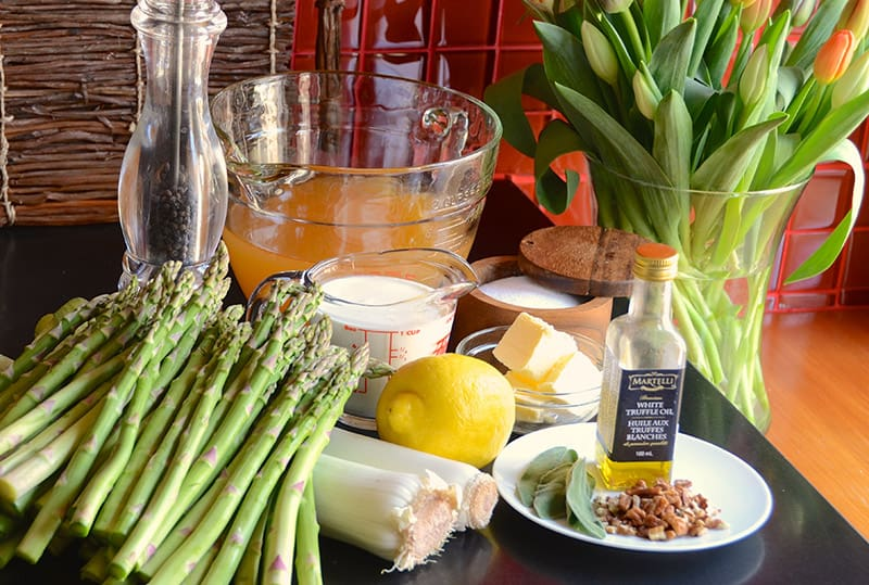 Ingredients for cream of asparagus soup
