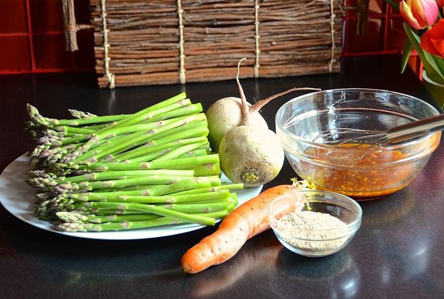 Roasted Asparagus With Watermelon Radish Slaw