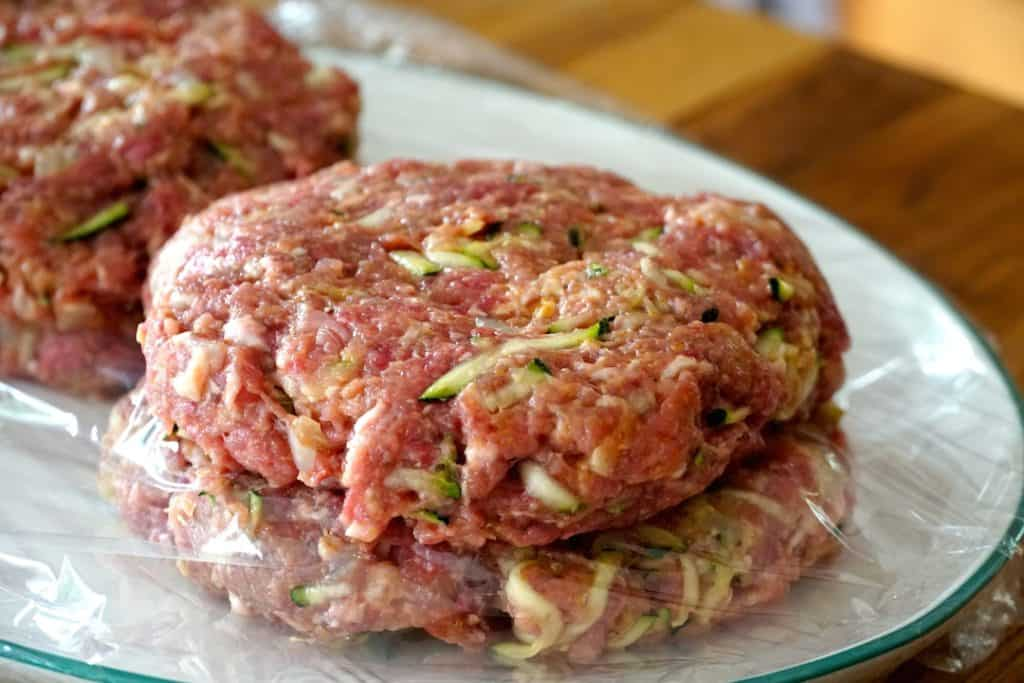 perfectly formed homemade hamburger patties