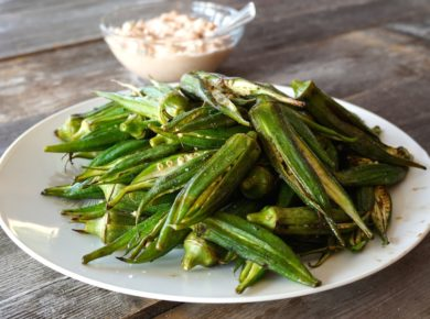 Grilled Okra served as a side dish