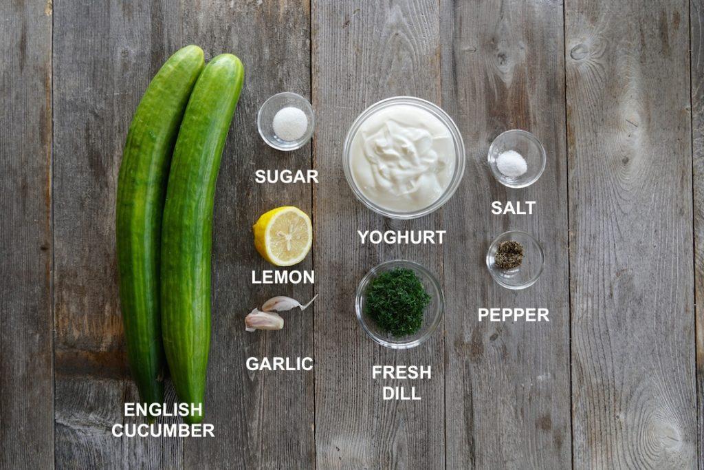 Ingredients for Best Cucumber Salad