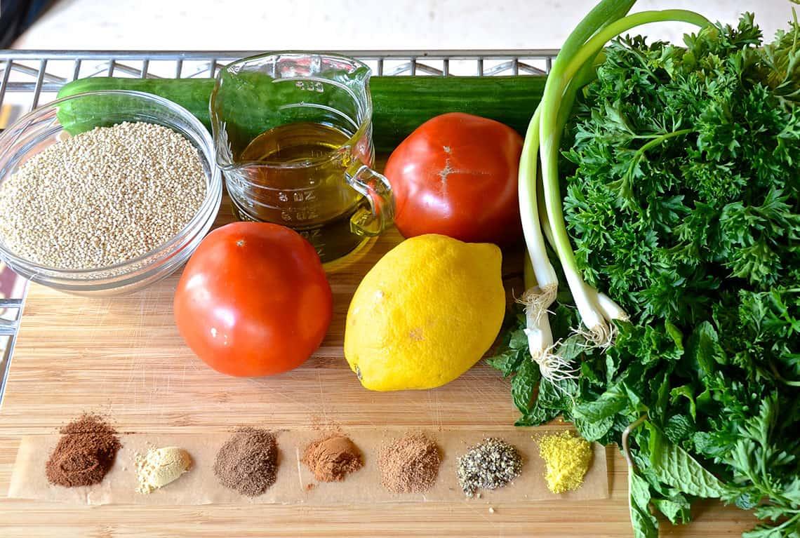 Ingredients for Quinoa Tabouli Tabbouleh