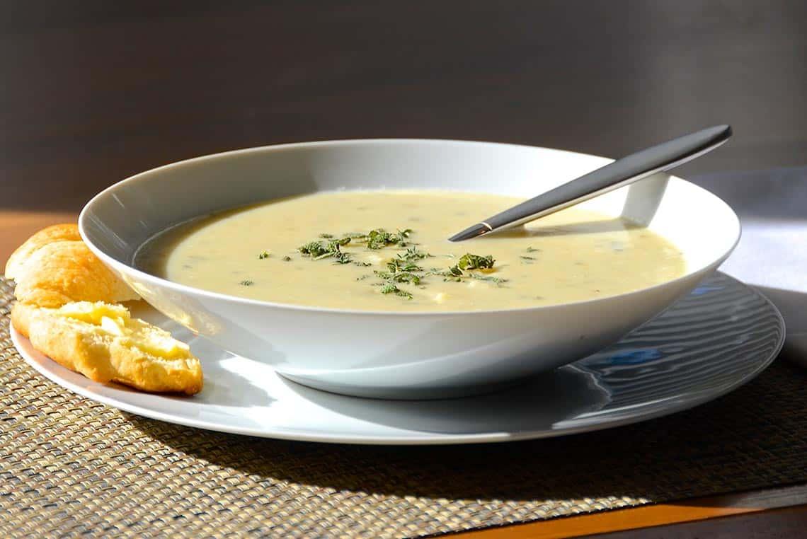 A bowl of our hearty potato leek soup.