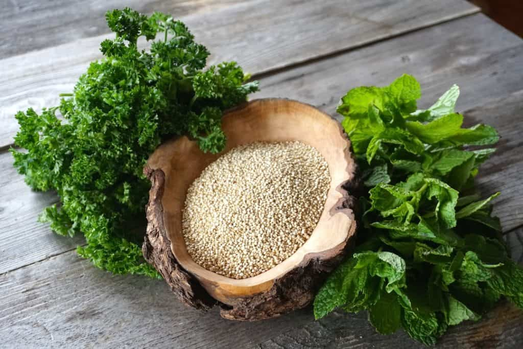 A bowl of quinoa and fresh herbs