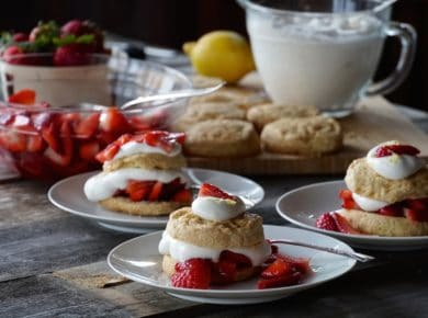Adessert station set with prepared Homemade Strawberry Shortcake