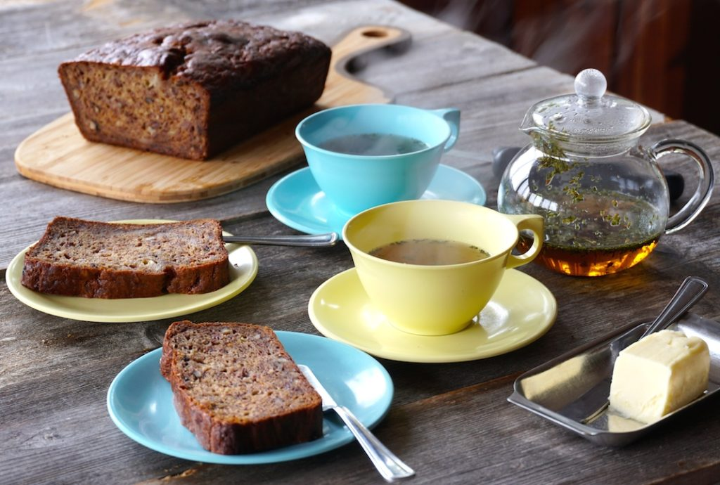 Best Banana Bread sliced and served with tea