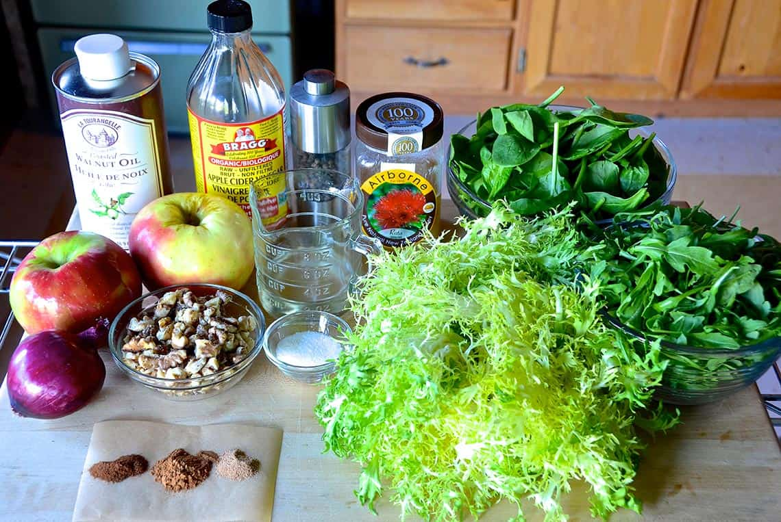 Ingredients for Green Salad with Apples