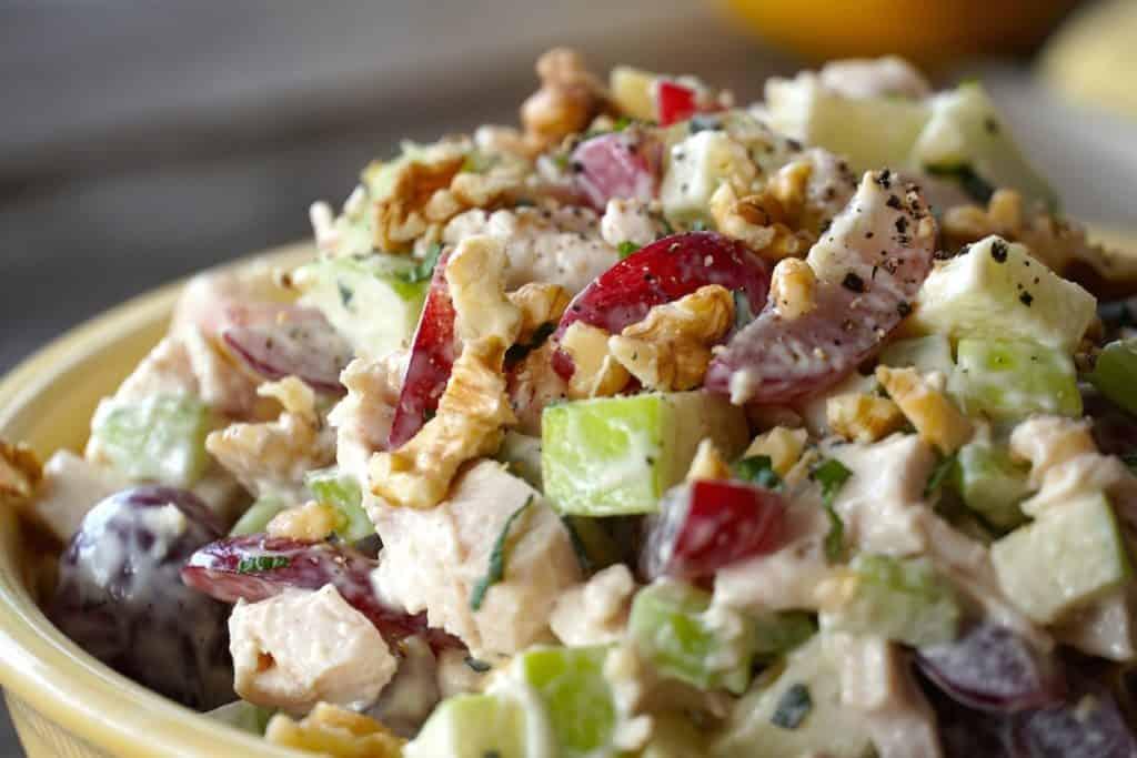 close up of this creamy salad