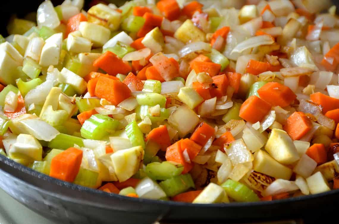 Sautéed carrots, celery, onion and garlic