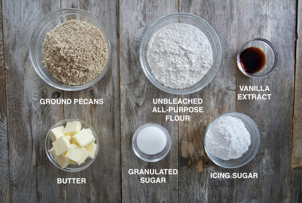 Ingredients for Melt-In-Your-Mouth Pecan Cookies