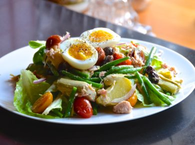 Tuna Salad Nicoise served on a luncheon plate