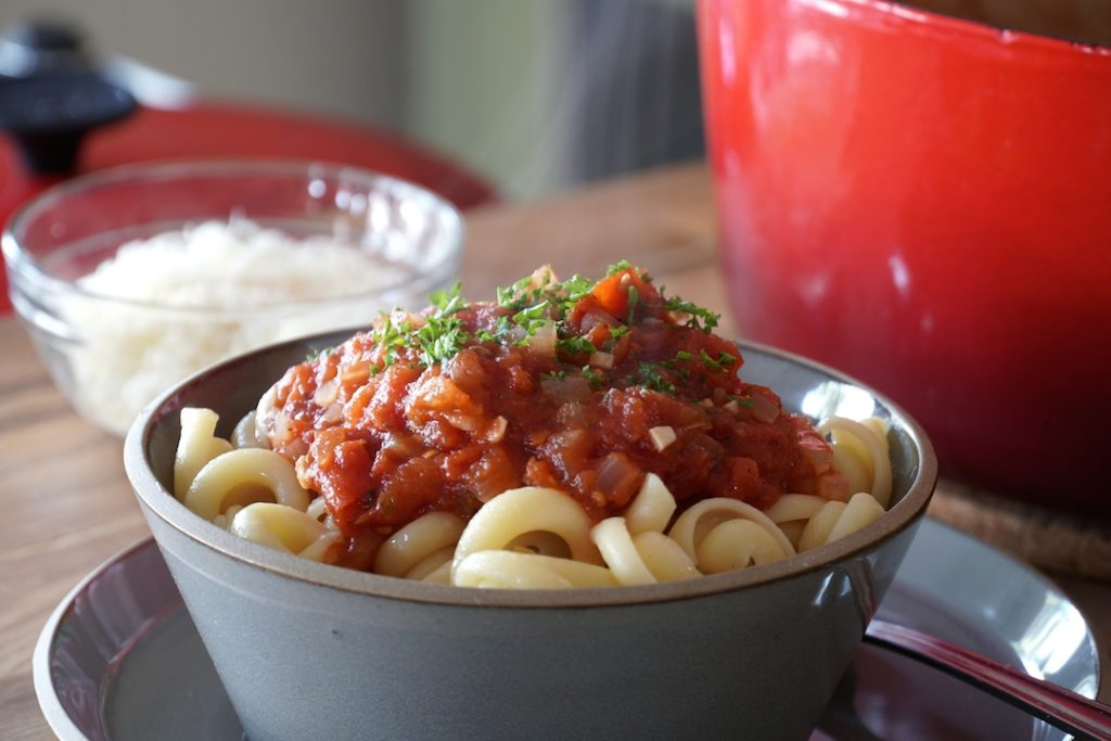 Marinara Sauce served on buttered noodles