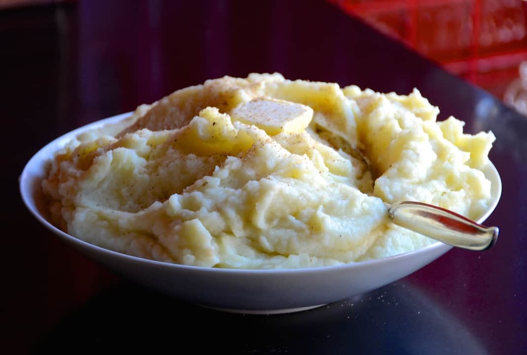 A bowl of Garlic Mashed Potatoes