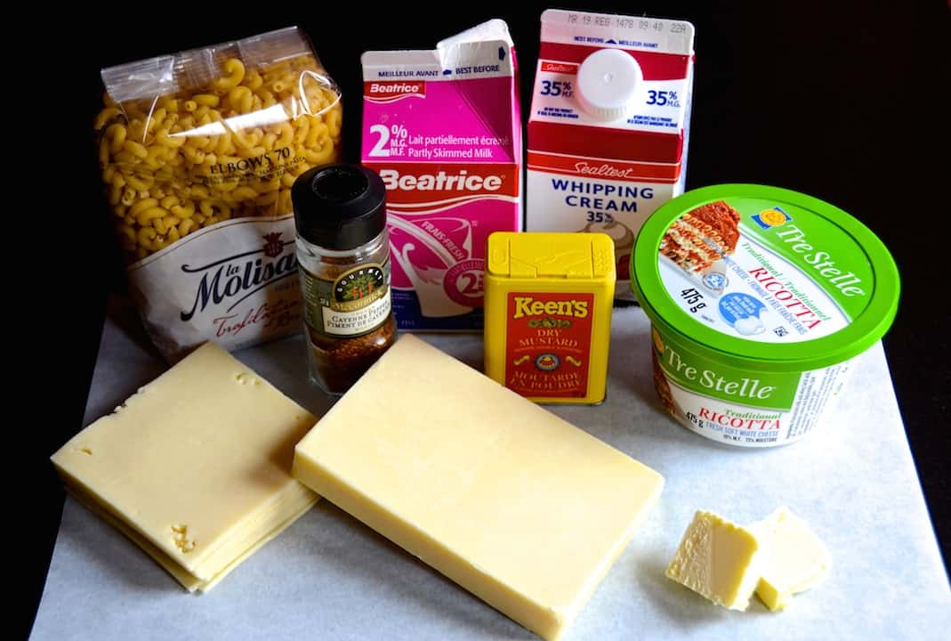 Ingredients for Old-Fashioned Macaroni and Cheese