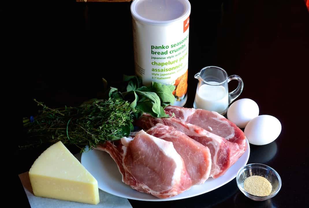 Ingredients for crispy breaded pork chops