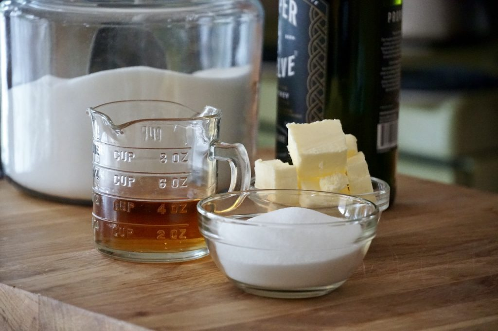 Sugar, butter and Irish whisky used to create the glaze for the cake