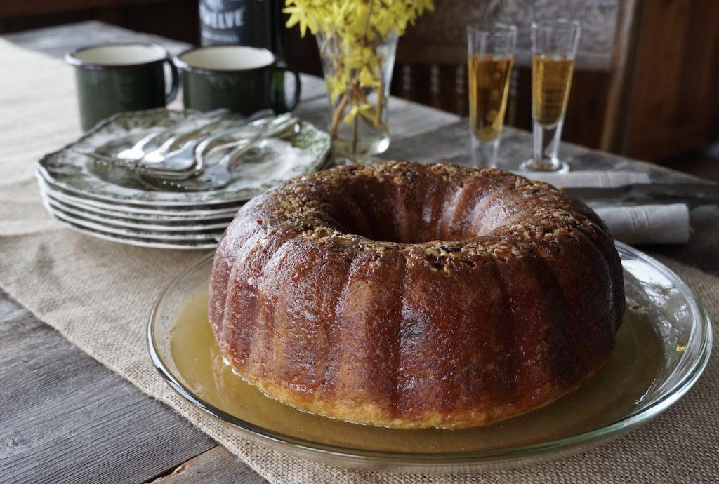 Irish Whisky Cake soaking up the glaze