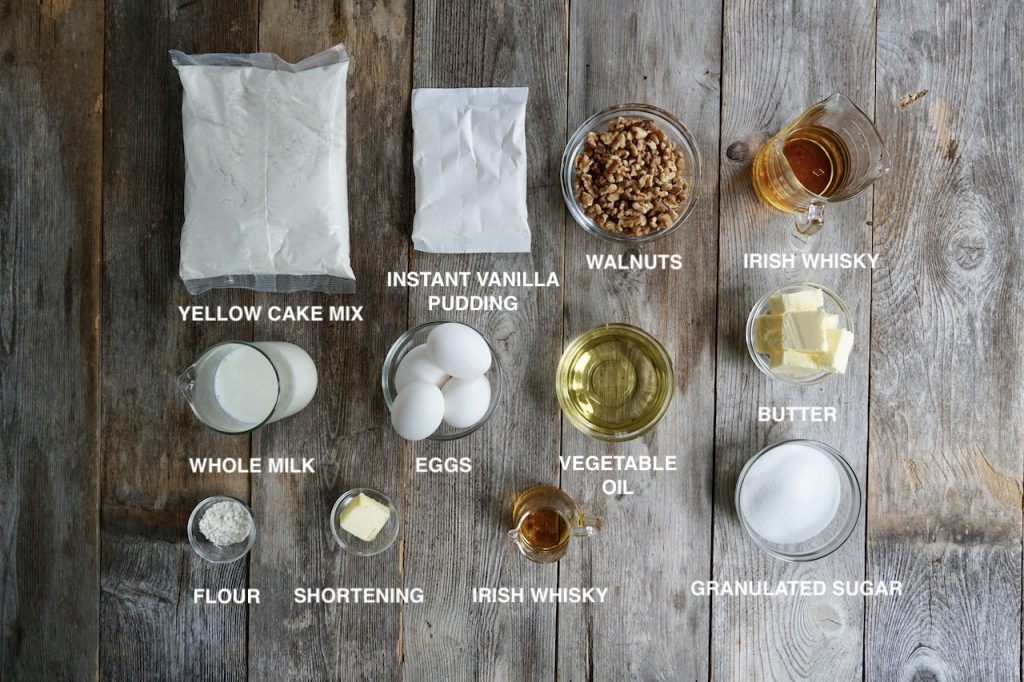 Ingredients for Irish Whisky Cake