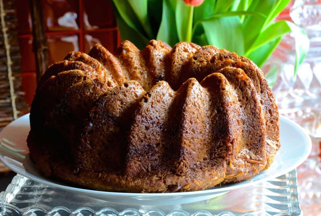 Sour Cream Coffee Cake out of the Bundt pan
