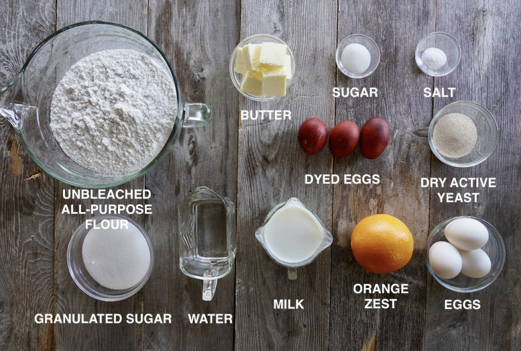 Ingredients for Homemade Easter Bread