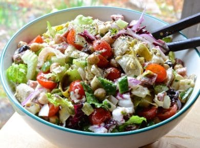 A bowl filled with Italian Chopped Salad