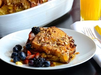 Oven-Baked French Toast served with fresh fruit