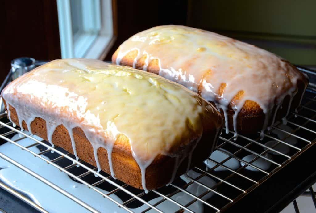 Two loaves of Moist Lemon Pound Cake, glazed