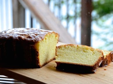 Sliced moist lemon pound cake