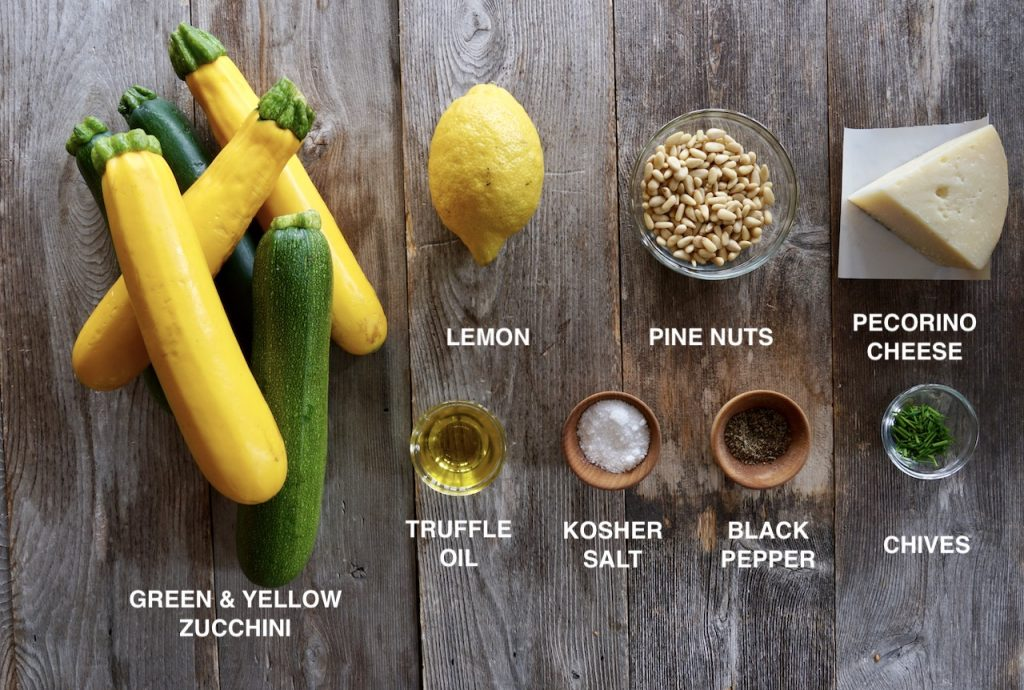 Ingredients for the Shaved Zucchini Salad