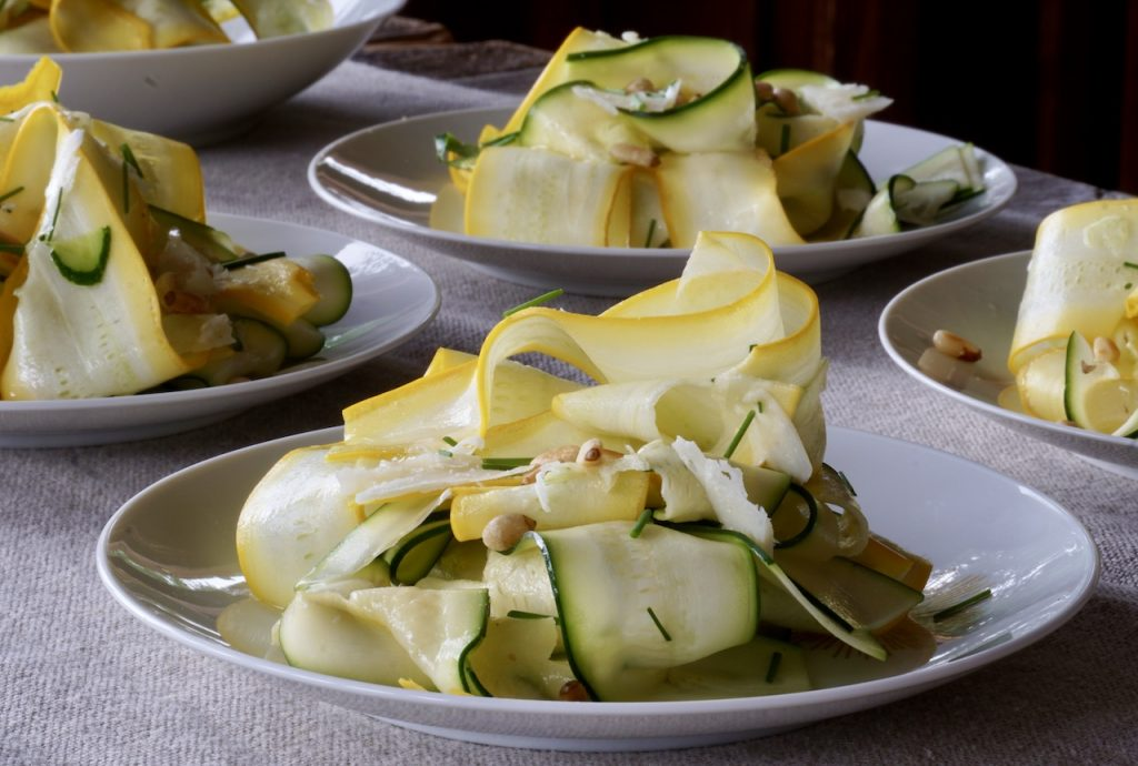 Shaved Zucchini Salad presented on individual plates
