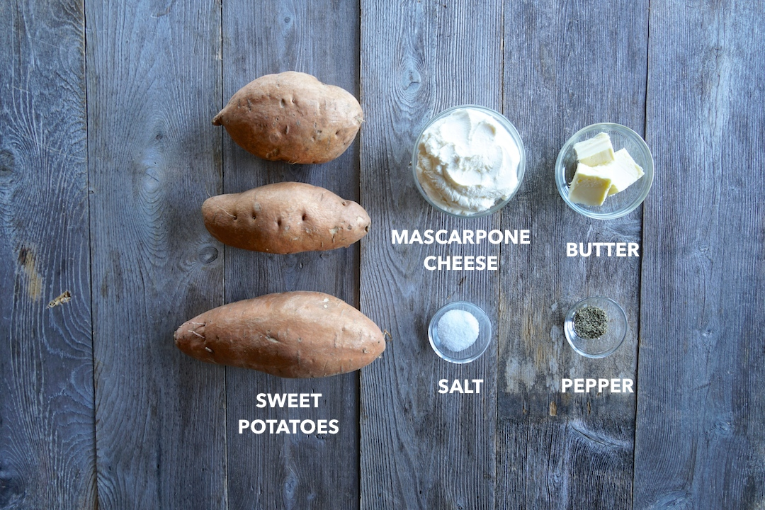 Ingredients for Easy Mashed Sweet Potatoes