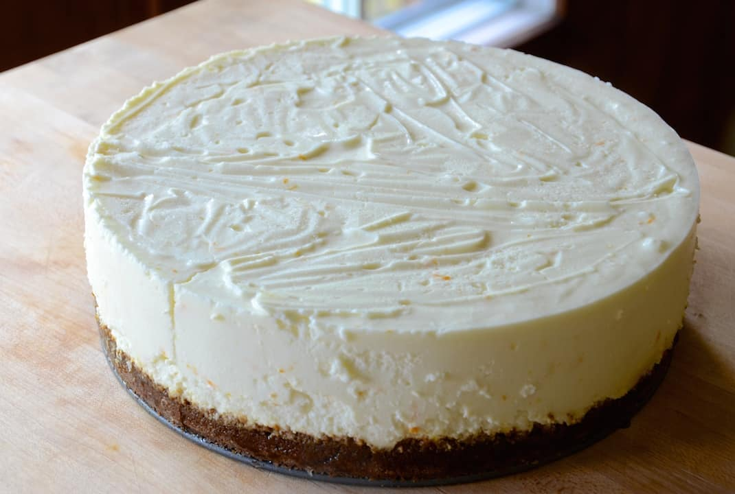 The cheesecake after it has chilled and set.