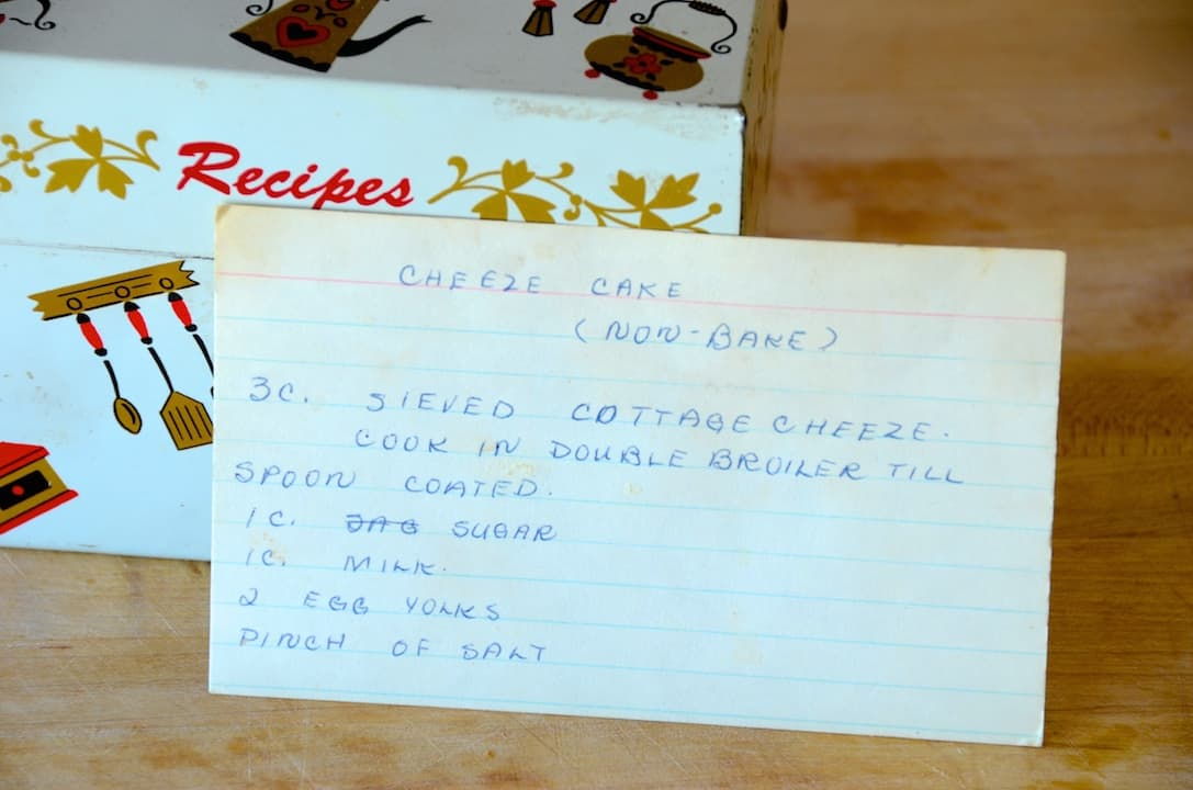 Recipe card for cheesecake