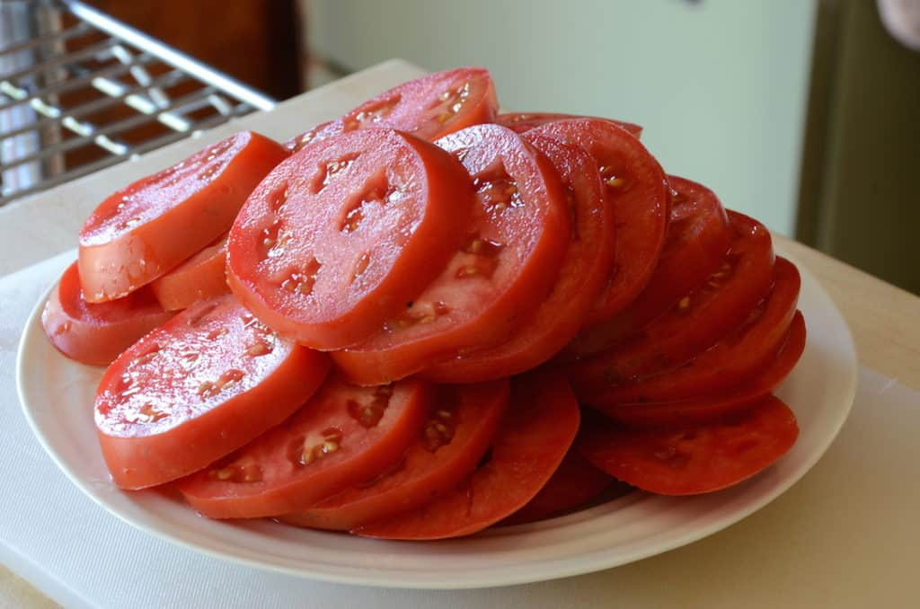 Sliced vine-ripened tomatoes