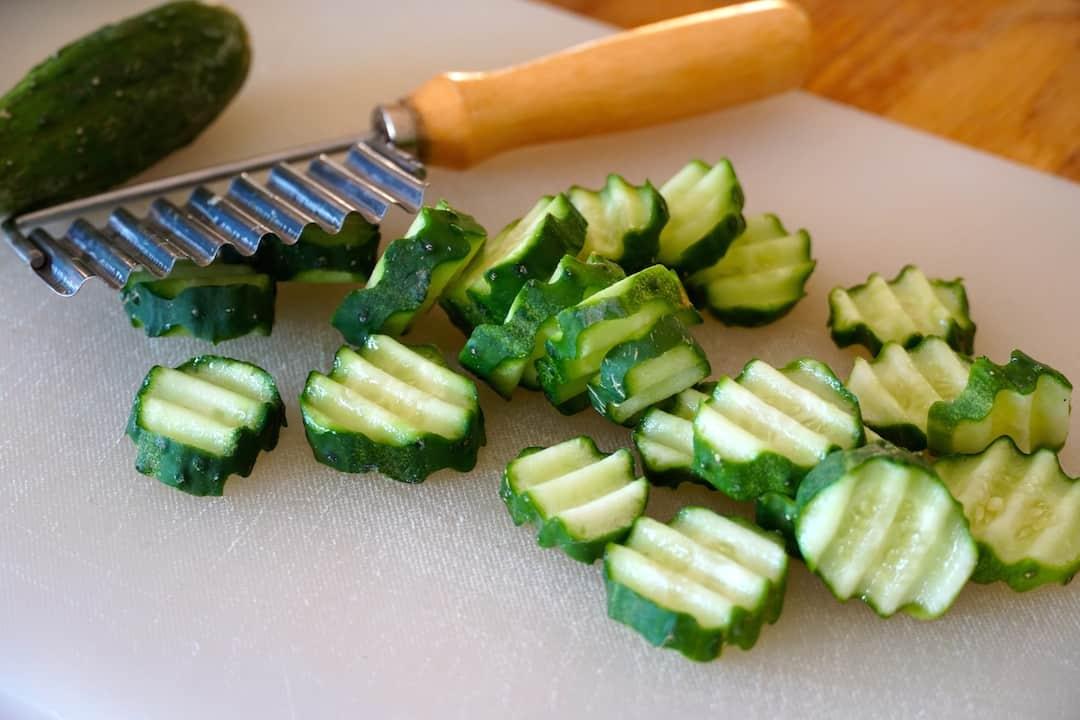 Crinkle-cut Kirby cucumbers