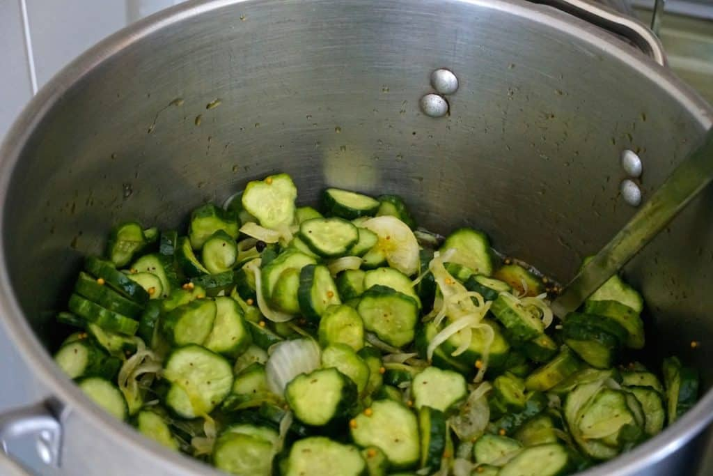 The bread and butter pickle recipe goes into the pot