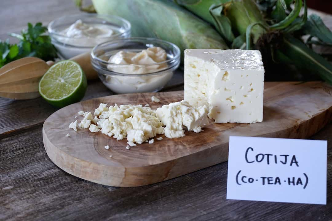 Cotija cheese is a crumbly slightly salty cheese from Mexico