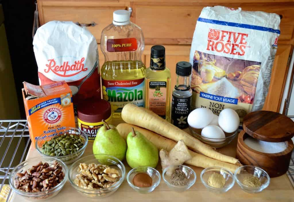 Ingredients for Spiced Parsnip Cake