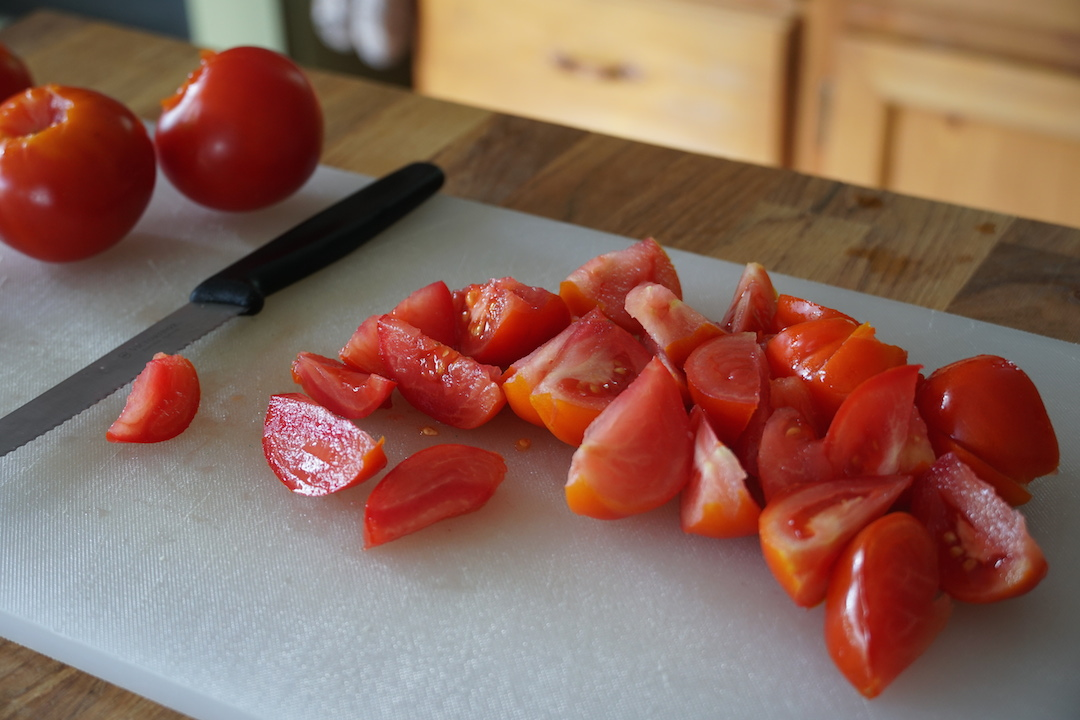 Heirloom tomatoes cut up for the salad