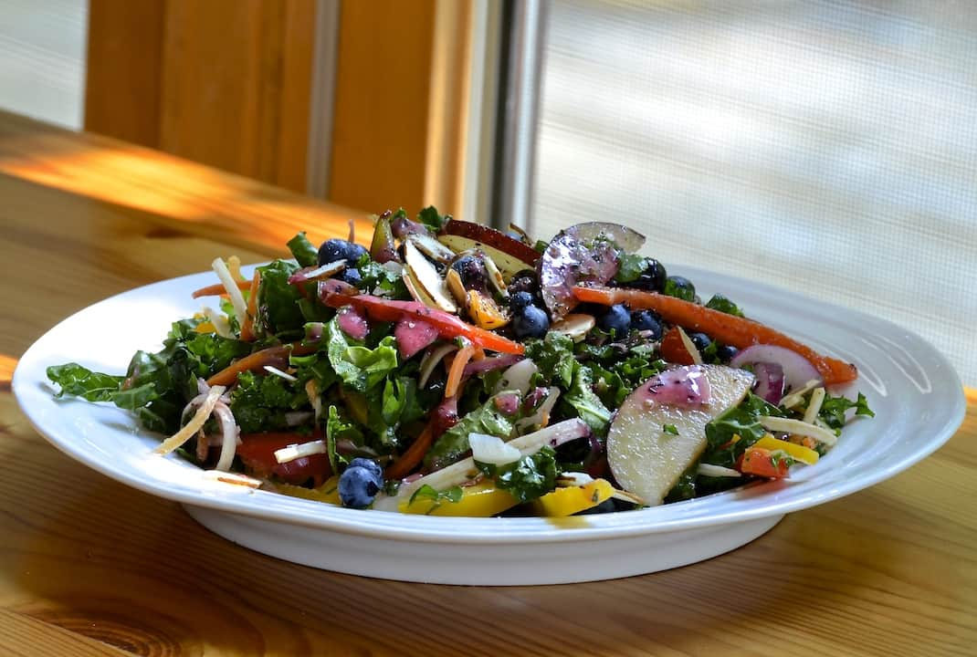 Fall Harvest Salad with Kale and Plums