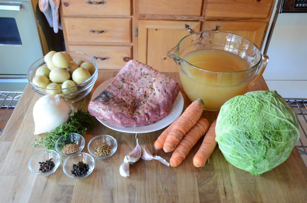 Ingredients for Slow Cooker Corned Beef