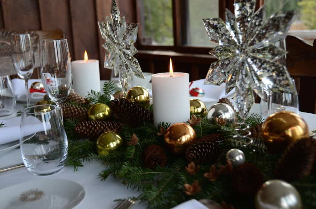 Fresh greens, candles and ornaments