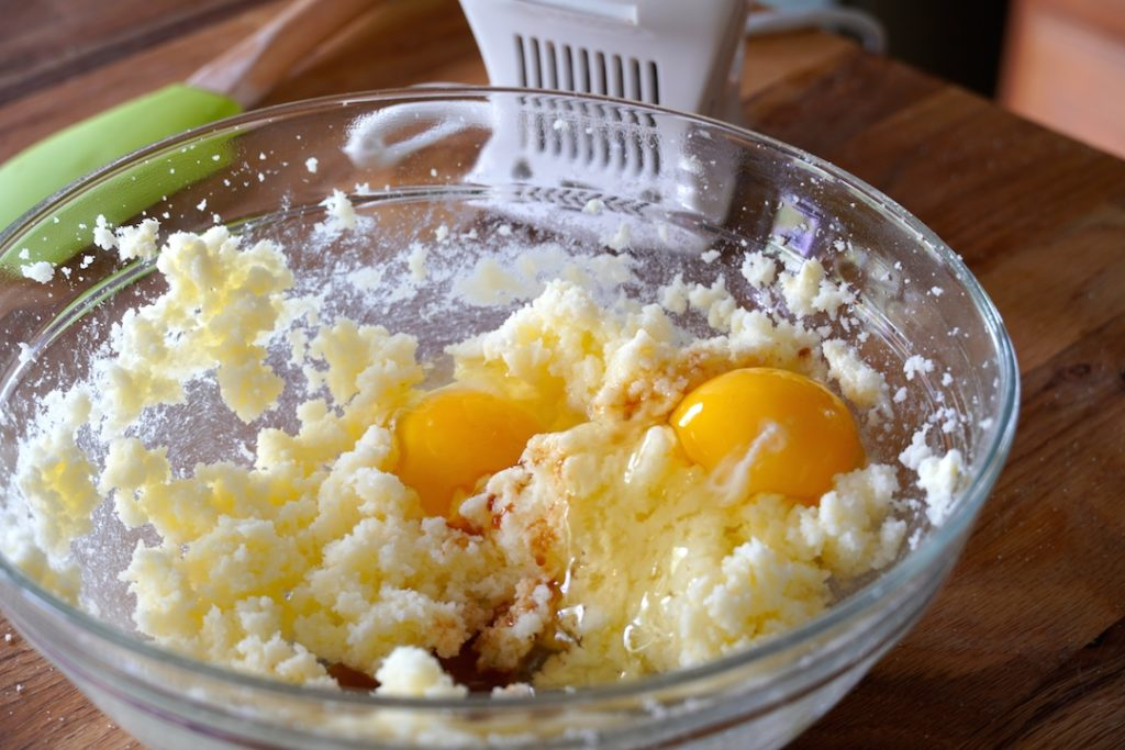 Eggs, butter and sugar creamed together