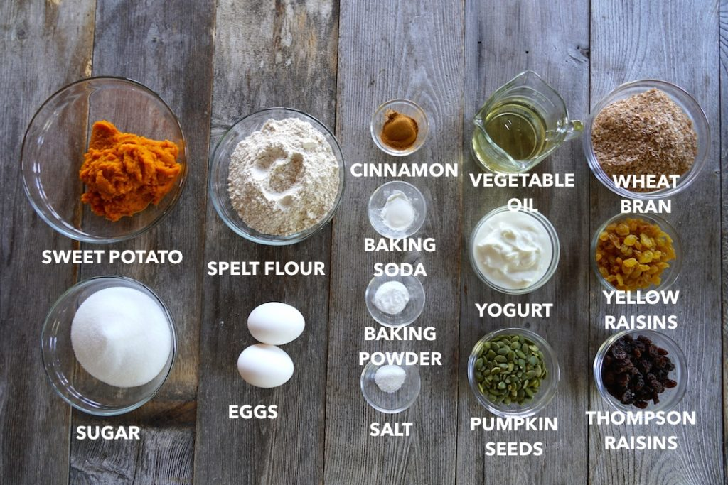 Ingredients for Easy Sweet Potato Muffins
